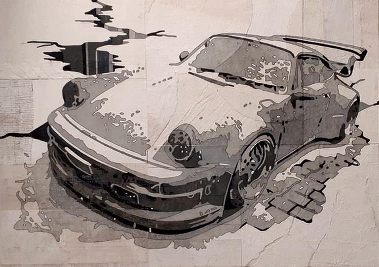 Collage et peinture Porsche